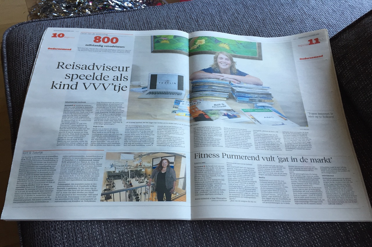 noordhollands dagblad, krantenartikel, linda hoorn, zelfstandig reisadviseur, assendelft, noord-holland